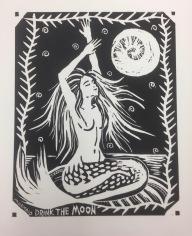 Mermaid Drink The Moon (1-color Woodblock Print)