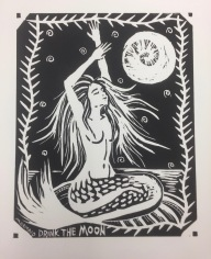 Mermaid Drink The Moon (1-color Woodblock Print)